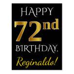 [ Thumbnail: Black, Faux Gold 72nd Birthday + Custom Name Postcard ]