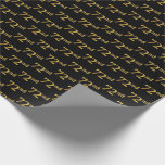 [ Thumbnail: Black, Faux Gold 72nd (Seventy-Second) Event Wrapping Paper ]