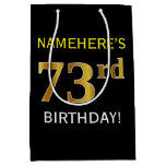 [ Thumbnail: Black, Faux Gold 73rd Birthday + Custom Name Gift Bag ]