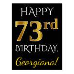 [ Thumbnail: Black, Faux Gold 73rd Birthday + Custom Name Postcard ]
