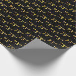 [ Thumbnail: Black, Faux Gold 73rd (Seventy-Third) Event Wrapping Paper ]