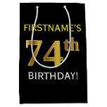 [ Thumbnail: Black, Faux Gold 74th Birthday + Custom Name Gift Bag ]