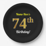 [ Thumbnail: Black, Faux Gold 74th Birthday + Custom Name Paper Plate ]