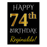 [ Thumbnail: Black, Faux Gold 74th Birthday + Custom Name Postcard ]