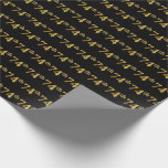 [ Thumbnail: Black, Faux Gold 74th (Seventy-Fourth) Event Wrapping Paper ]