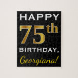 [ Thumbnail: Black, Faux Gold 75th Birthday + Custom Name Jigsaw Puzzle ]