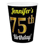 [ Thumbnail: Black, Faux Gold 75th Birthday + Custom Name Paper Cup ]