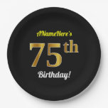 [ Thumbnail: Black, Faux Gold 75th Birthday + Custom Name Paper Plate ]