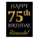 [ Thumbnail: Black, Faux Gold 75th Birthday + Custom Name Postcard ]
