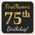 [ Thumbnail: Black, Faux Gold 75th Birthday + Custom Name Paper Coaster ]