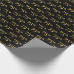 [ Thumbnail: Black, Faux Gold 75th (Seventy-Fifth) Event Wrapping Paper ]