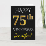 [ Thumbnail: Black, Faux Gold 75th Wedding Anniversary + Name Card ]