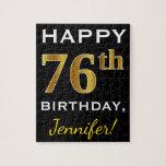 [ Thumbnail: Black, Faux Gold 76th Birthday + Custom Name Jigsaw Puzzle ]