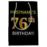 [ Thumbnail: Black, Faux Gold 76th Birthday + Custom Name Gift Bag ]