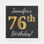 [ Thumbnail: Black, Faux Gold 76th Birthday + Custom Name Napkin ]