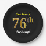 [ Thumbnail: Black, Faux Gold 76th Birthday + Custom Name Paper Plate ]