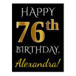 [ Thumbnail: Black, Faux Gold 76th Birthday + Custom Name Postcard ]