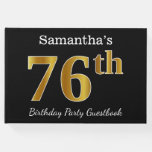 [ Thumbnail: Black, Faux Gold 76th Birthday Party + Custom Name Guest Book ]