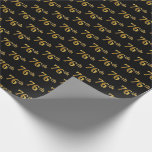 [ Thumbnail: Black, Faux Gold 76th (Seventy-Sixth) Event Wrapping Paper ]