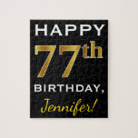 [ Thumbnail: Black, Faux Gold 77th Birthday + Custom Name Jigsaw Puzzle ]
