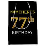 [ Thumbnail: Black, Faux Gold 77th Birthday + Custom Name Gift Bag ]