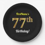 [ Thumbnail: Black, Faux Gold 77th Birthday + Custom Name Paper Plate ]