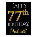 [ Thumbnail: Black, Faux Gold 77th Birthday + Custom Name Postcard ]