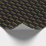 [ Thumbnail: Black, Faux Gold 77th (Seventy-Seventh) Event Wrapping Paper ]