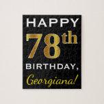 [ Thumbnail: Black, Faux Gold 78th Birthday + Custom Name Jigsaw Puzzle ]