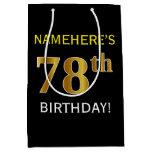 [ Thumbnail: Black, Faux Gold 78th Birthday + Custom Name Gift Bag ]