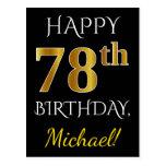 [ Thumbnail: Black, Faux Gold 78th Birthday + Custom Name Postcard ]
