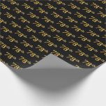 [ Thumbnail: Black, Faux Gold 78th (Seventy-Eighth) Event Wrapping Paper ]