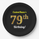 [ Thumbnail: Black, Faux Gold 79th Birthday + Custom Name Paper Plate ]
