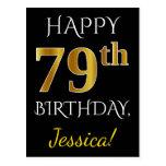 [ Thumbnail: Black, Faux Gold 79th Birthday + Custom Name Postcard ]