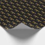 [ Thumbnail: Black, Faux Gold 79th (Seventy-Ninth) Event Wrapping Paper ]