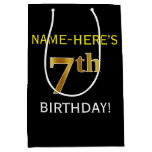 [ Thumbnail: Black, Faux Gold 7th Birthday + Custom Name Gift Bag ]