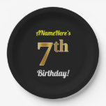 [ Thumbnail: Black, Faux Gold 7th Birthday + Custom Name Paper Plate ]