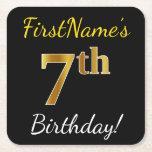 [ Thumbnail: Black, Faux Gold 7th Birthday + Custom Name Paper Coaster ]