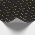 [ Thumbnail: Black, Faux Gold 7th (Seventh) Event Wrapping Paper ]