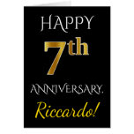 [ Thumbnail: Black, Faux Gold 7th Wedding Anniversary + Name ]