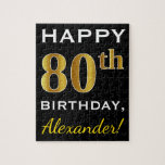 [ Thumbnail: Black, Faux Gold 80th Birthday + Custom Name Jigsaw Puzzle ]