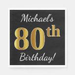[ Thumbnail: Black, Faux Gold 80th Birthday + Custom Name Paper Napkin ]