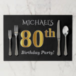[ Thumbnail: Black, Faux Gold 80th Birthday + Custom Name Paper Placemat ]