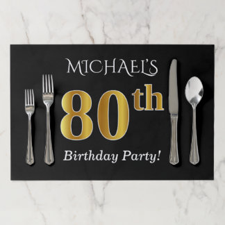 Black, Faux Gold 80th Birthday + Custom Name Paper Placemat