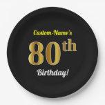 [ Thumbnail: Black, Faux Gold 80th Birthday + Custom Name Paper Plate ]
