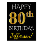 [ Thumbnail: Black, Faux Gold 80th Birthday + Custom Name Postcard ]