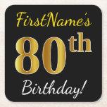 [ Thumbnail: Black, Faux Gold 80th Birthday + Custom Name Paper Coaster ]