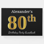 [ Thumbnail: Black, Faux Gold 80th Birthday Party + Custom Name Guest Book ]