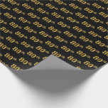 [ Thumbnail: Black, Faux Gold 80th (Eightieth) Event Wrapping Paper ]