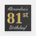 [ Thumbnail: Black, Faux Gold 81st Birthday + Custom Name Paper Napkin ]